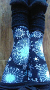 One Size Light Blue Snowflake Leggings