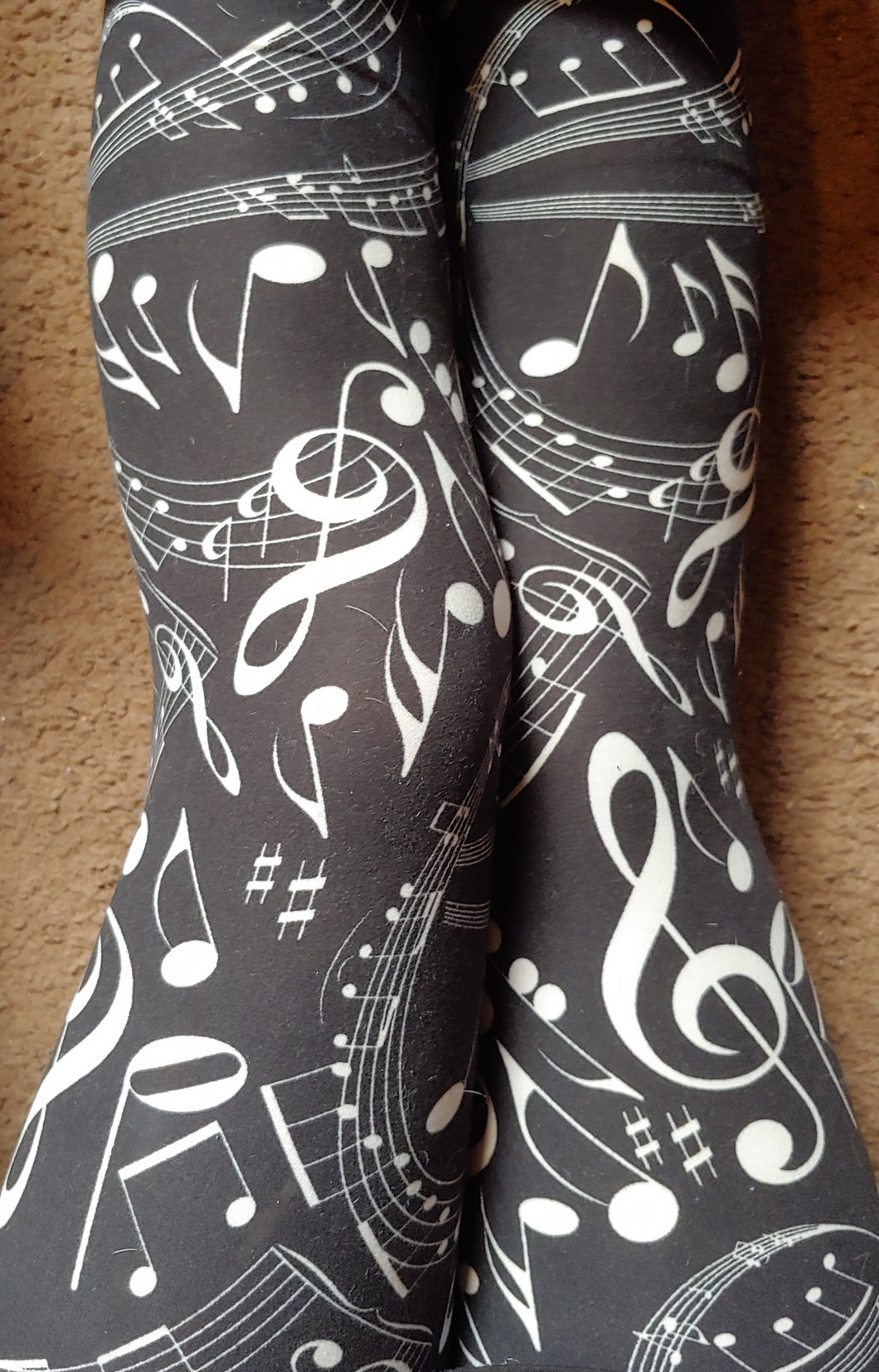 Plus Size Black & White Music Note Leggings