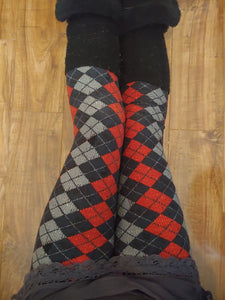 One Size Red, Black & Grey Argyle Print Leggings