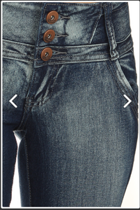 Button Detail Wide Band Denim Jeans