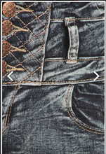 Dark Wash Embroidered Detail Wide Waist Band Jeans