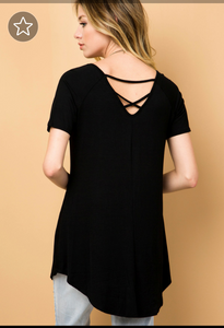 Round neck strappy back tunic top - tops