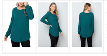 Long Sleeve Waffle Texture Light Sweater - tops