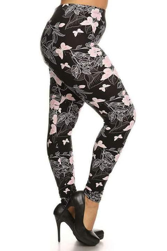 Plus Size Pink Butterfly Leggings