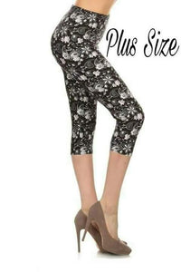 Plus Size Grey & White Floral Capris on Black Background
