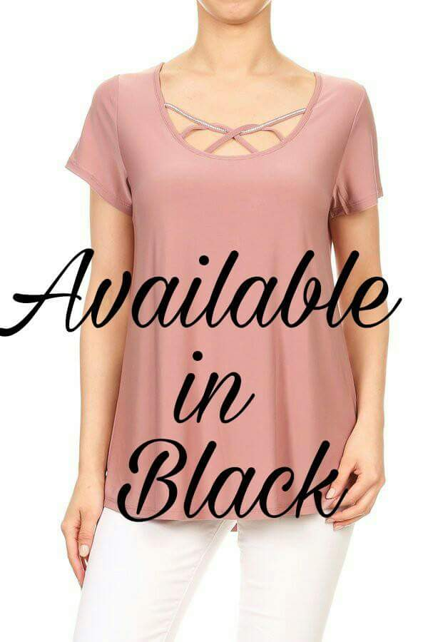 Rhinestone trimmed short sleeve black top - tops