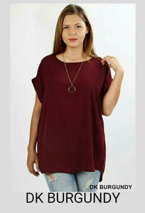 Burgundy Folded Short Sleeve Top Plus - tops