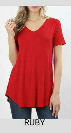 V Neck Short Sleeve Rounded Bottom Top - tops