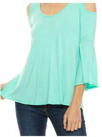 Long Sleeve Cold Shoulder Top in Mint - tops