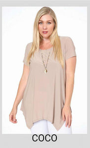 Plus Beige Top w/Sharkbite Hem-XXL - tops