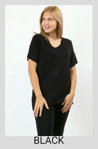 Plus Short Sleeved Comfy Lounge Tunic Top - tops
