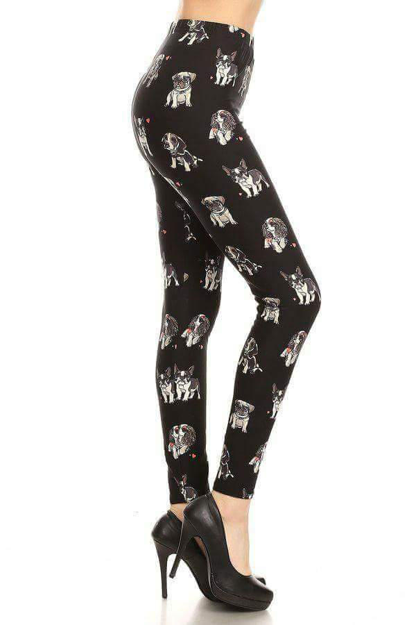 Plus Size Multiple Breed Puppy Print Leggings