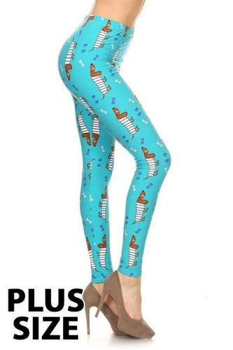 Plus Size Cartoon Daschund Print Leggings