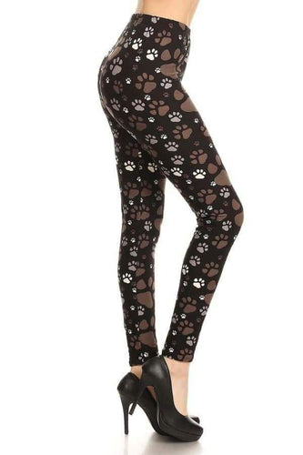 Plus Size Brown, Black & White Paw Print Leggings