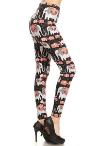 Plus Size Cartoon Elephant Print Leggings