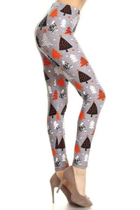 Plus Size Christmas Tree Print Leggings on Grey Background