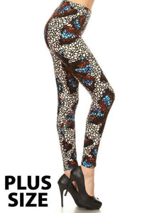 Plus Size Mosaic Butterfly Print Leggings