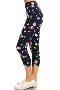 One Size Floral Capri Leggings on Navy Background