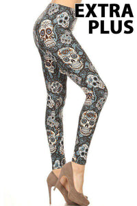 Extra Plus Light Blue & Orange Sugar Skull Print Leggings