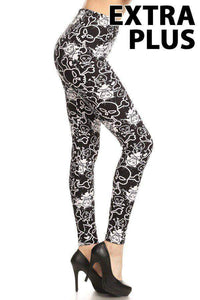 Extra Plus Graffiti Skull Print Leggings