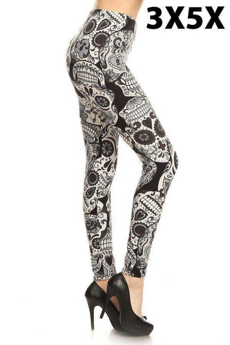 Extra Plus Large Grey Sugar Skull Print Leggings