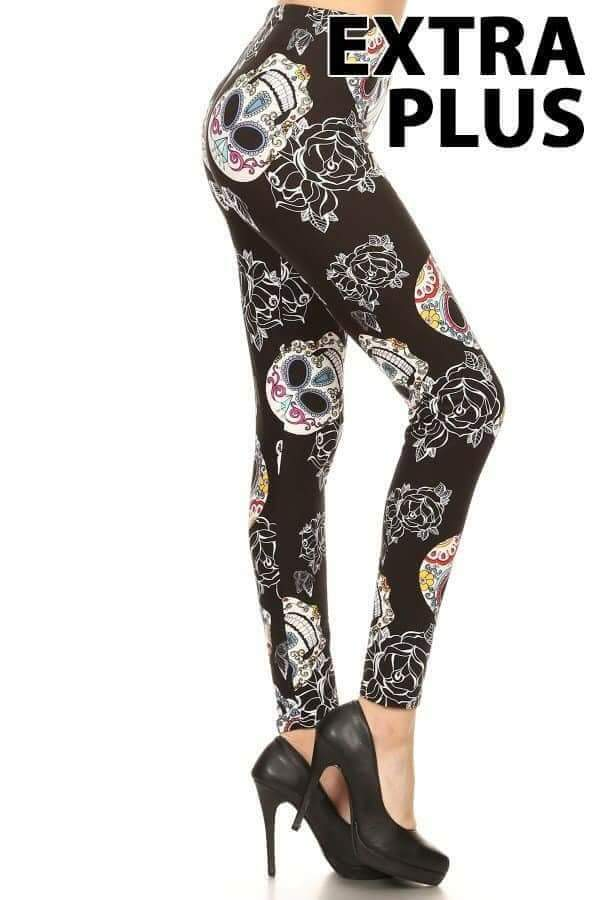 Extra Plus Large Rose & Sugar Skull Print Leggings