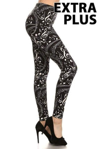 Extra Plus Music Note Print Leggings on Black Background