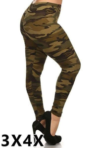 Extra Plus Green Camo Print Leggings