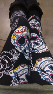 One Size Large White Sugar Skulls & Roses Print Leggings