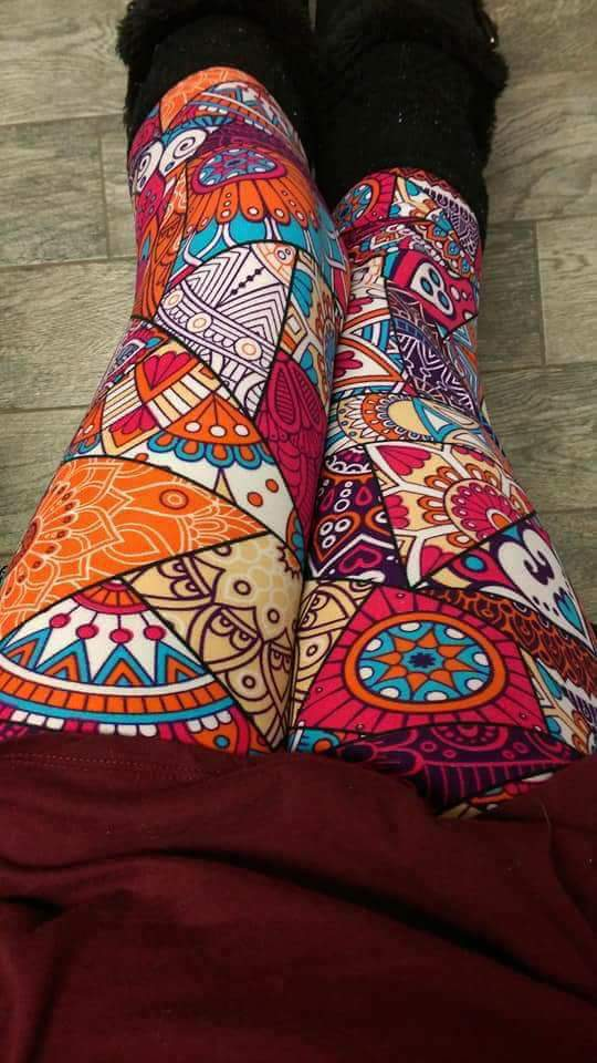 One Size Bright Multi Color Patchwork Print Leggings
