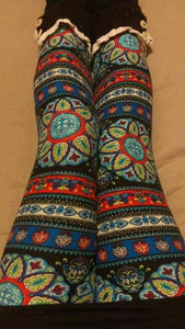 One Size Blue Circle Mandala Print Leggings