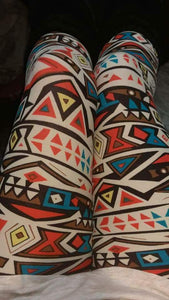 One Size Teal & Coral Aztec Symbol Striped Leggings