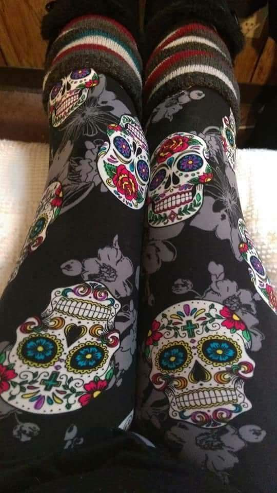 One Size Sugar Skull & Grey Floral Print Leggings on Black Background
