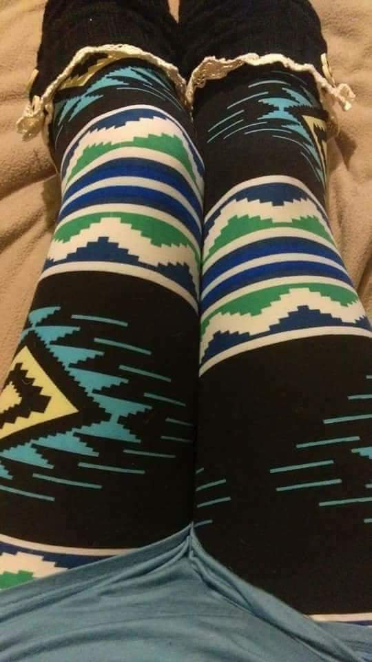 One Size Blue, Green & White Aztec Striped Leggings