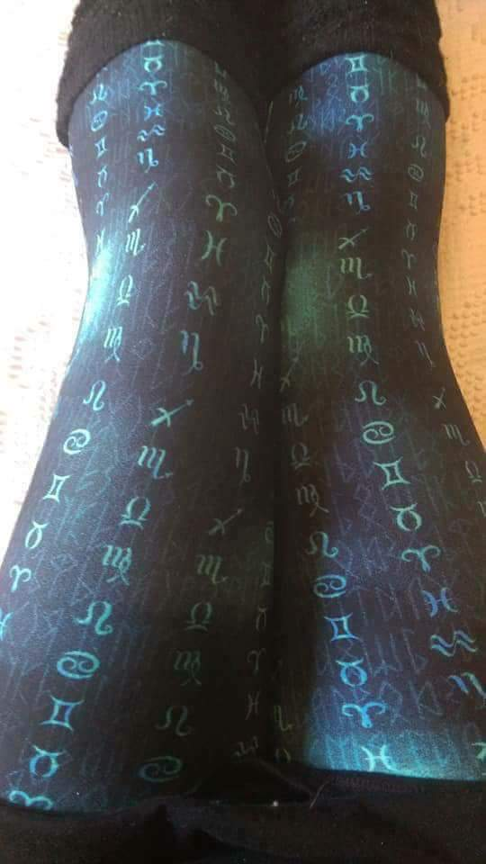 One Size Teal Astrological Sign Print Leggings on Black Background