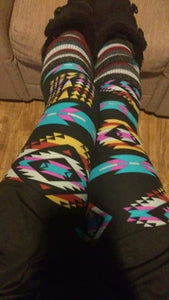One Size Multi Color Teal, Pink & Grey Aztec Stripe Leggings on Black Background