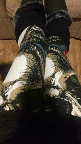 One Size Enlarged Skull & Roses Print Leggings