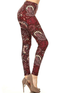 One Size Burgundy & Creme Paisley Print Leggings
