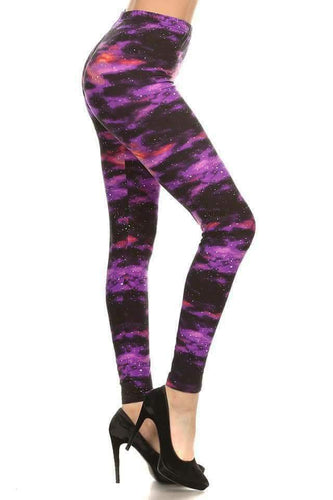 One Size Purple Galaxy Print Leggings