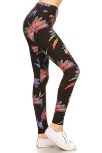 One Size Colorful Dragonfly Print Leggings on Black Background