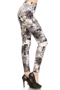 One Size Grey & Black Floral Leggings on White Background