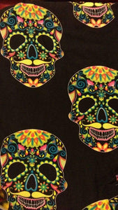One Size Fluorescent Sugar Skull Print Leggings