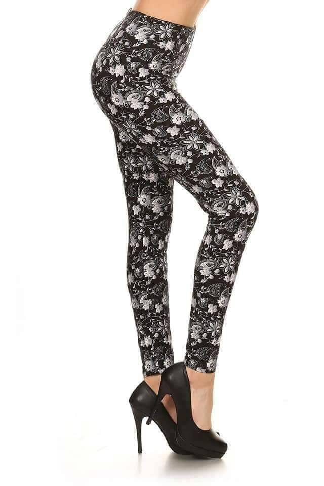 One Size Grey & White Floral Leggings