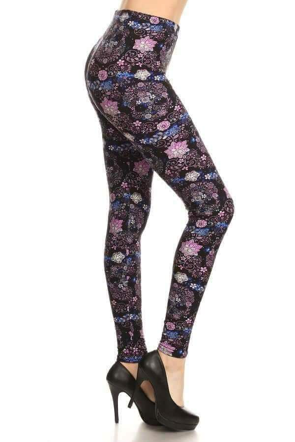 One Size Color Floral Skull Print Leggings
