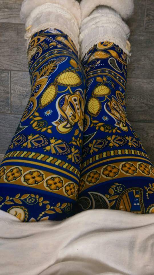 One Size Gold & Blue Paisley Print Leggings