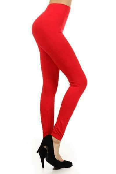 One Size Solid Red Leggings (transparent)