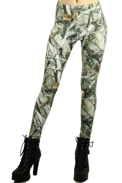One Size Woodland Camo Screen Printed Leggings