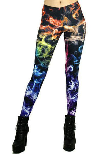 Screen Printed Rainbow Smoke Leggings