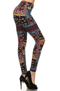 One Size Patchwork Elephant Print Leggings