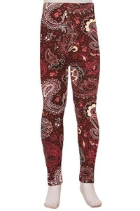 Kids Burgundy & Creme Paisley Print Leggings